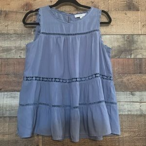 Loft blue A-line tank top baby doll style,  small
